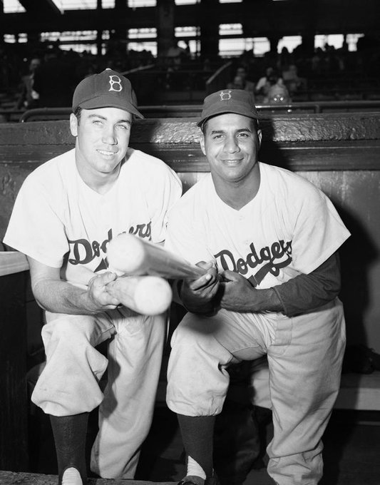 Duke Snider (left) and Roy Campanella on this date May 9 in 1949. Photo by John Rooney. #OTD #BaseballGuterman ⚾️ https://t.co/r2hE5CCGaz