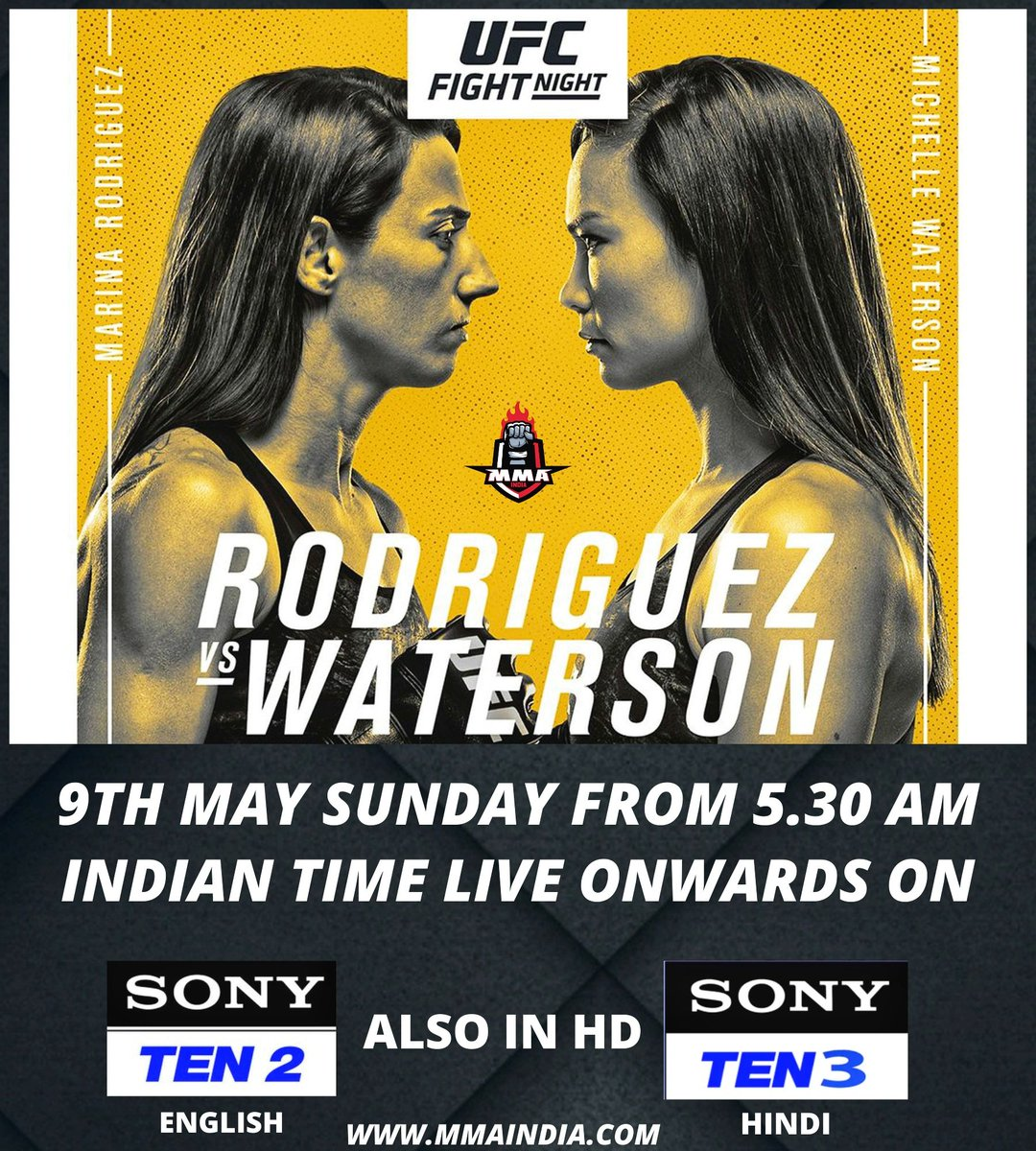 🇧🇷 @wmmarz vs 🇺🇸 @karatehottiemma happens TOMORROW! 🇮🇳  Catch the live action 👇  📺 Sony TEN 2 (ENG), Sony TEN 3 (HIN) 📅 SUN, 9th MAY ⌚ 5:30 AM  #UFC #MMA @SonySportsIndia https://t.co/mMd1abdvRv