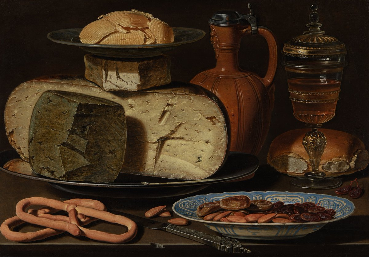##Earlymodern #food on #StuartsSaturday: still life with three kinds of #cheese (one green!) by Clara Peeters, c.1615, @mauritshuis and one by Floris van Schooten, ca.1630-40, @Pinakotheken for @17thCenturyLady https://t.co/LJIw4LuaOu