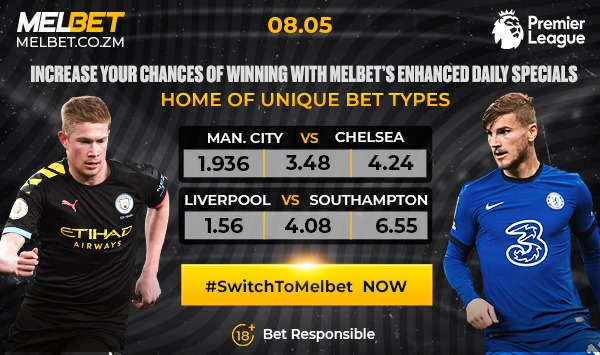 MAN-CITY CLASHES WITH CHELSEA IN EPL WITH BOTH SIDES RIDING HIGH  Manchester City can be crowned Premier League champions with a win over Chelsea today.   Deposit & BET NOW!  #SwitchToMelbet > https://t.co/ibBDHRoy3K Promo Code: Arnie  #ZedTwitter #ChelseaFC #ManCity https://t.co/OZJevvoY3n