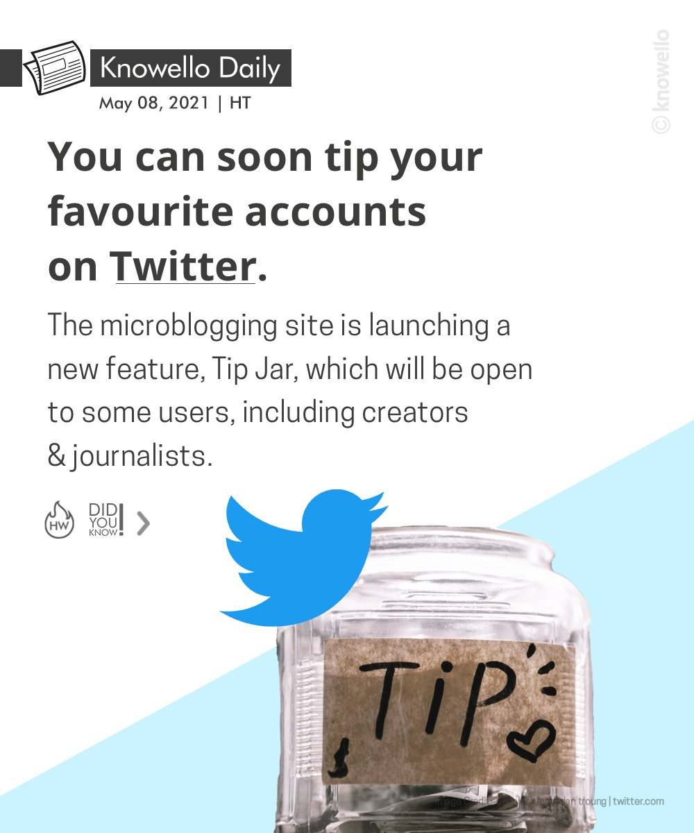 "Twitter celebs could soon mint money from followers via a new ""tip"" feature.  #twitter #tips #tech #socialmedia #new #feature #pay #celebrities #money #knowello #knowellodaily https://t.co/t5ZJP7sbFX"