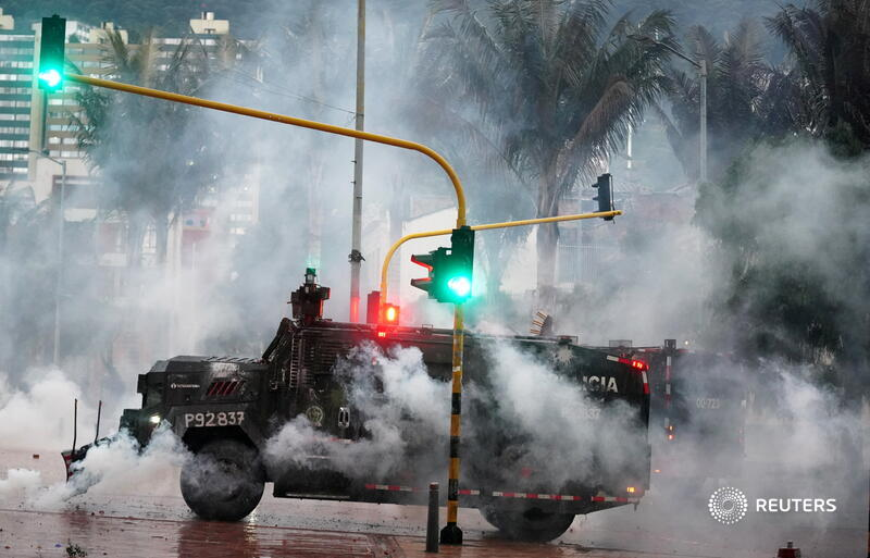A police armored vehicle is pictured during a protest against poverty and police violence in Bogota, Colombia. More photos of the week: https://t.co/fs0iyOpXka 📷 @nathalianph https://t.co/3Amjy2lGfM