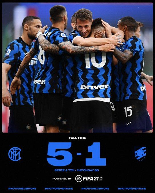 Skor akhir Inter Milan 5-1 Sampdoria