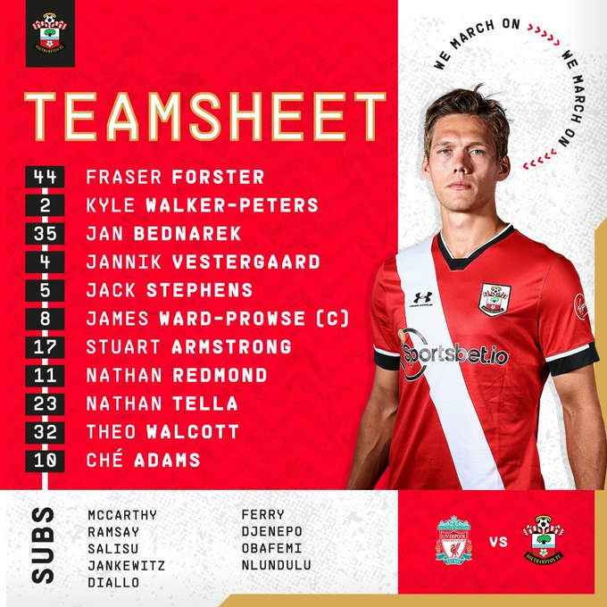 Southampton team: Forster, Walker-Peters, Bednarek, Vestergaard, Stephens, Ward-Prowse (c), Armstrong, Redmond, Tella, Walcott, Adams. Substitutes: McCarthy, Ramsay, Salisu, Jankewitz, Diallo, Ferry, Djenepo, Obafemi, Nlundulu.