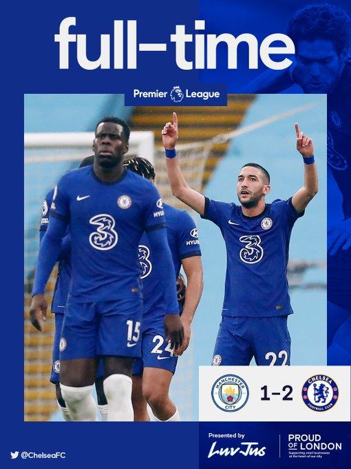 Skor akhir Manchester City 1-2 Chelsea