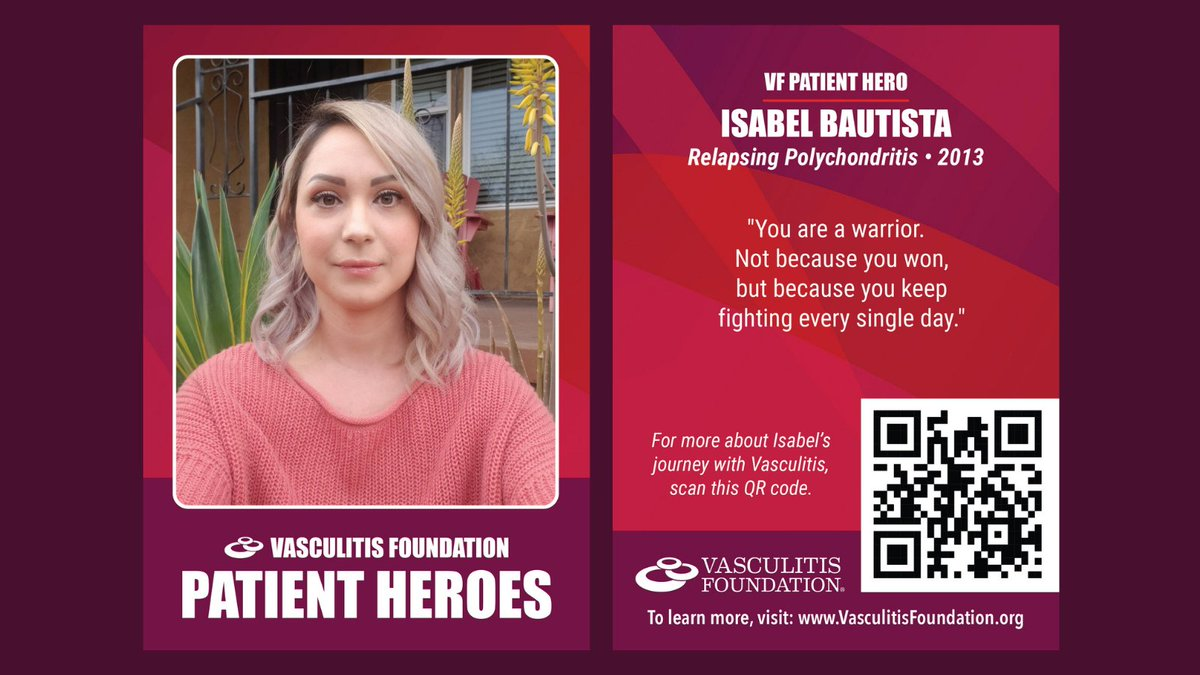 Outstanding to see that relapsing polychondritis (RP) advocate, Isabel Bautista, has been selected at a 2021 VF Patient Hero by the Vasculitis Foundation.  Congratulations, Isabel!   #RelapsingPolychondritis #RaceforRP #Vasculitis