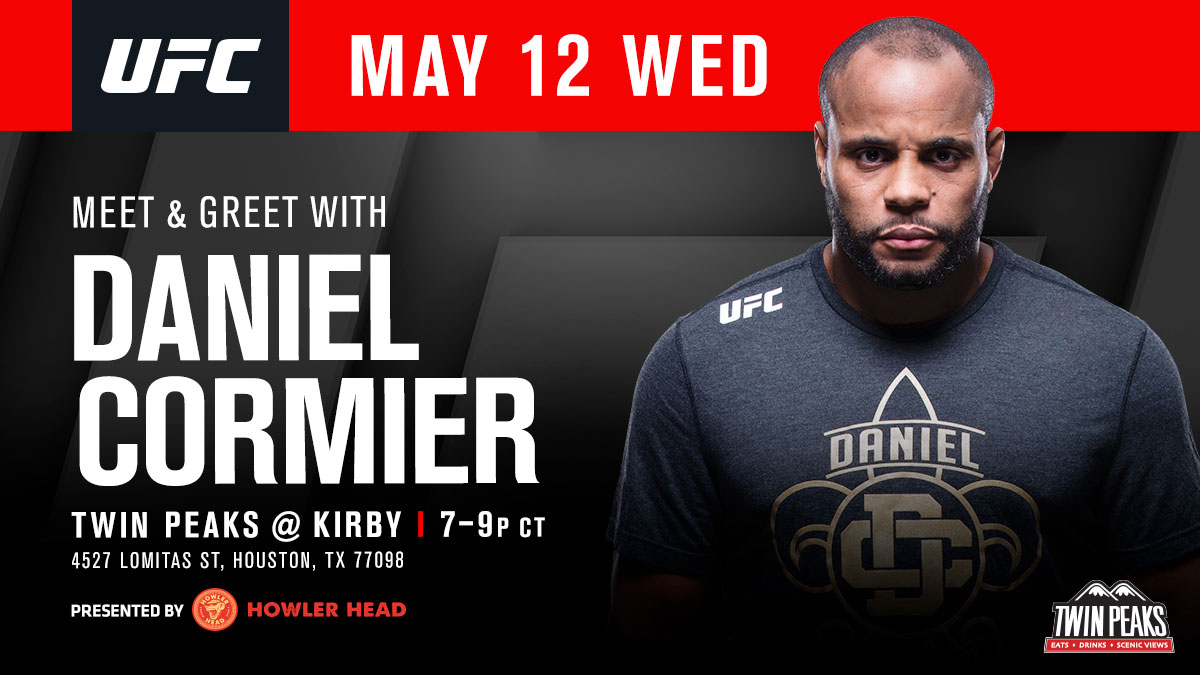 Houston fans unite! 🙌   Come meet @DC_MMA & enter for a chance to win a pair of 🎟 for #UFC262!   [ Wed May 12 | Presented by @HowlerHead ] https://t.co/Se4ZA2mDM1