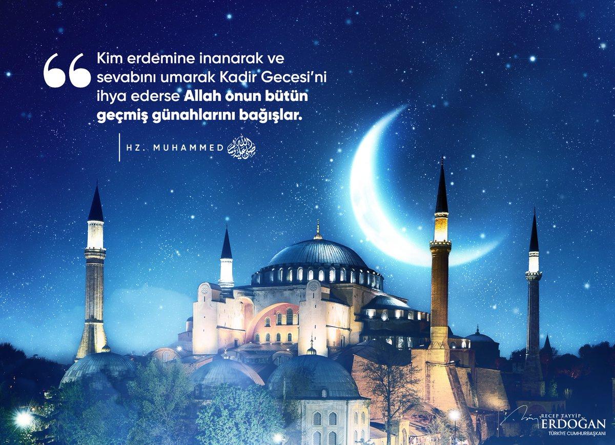 Mukaddes kitabımız Kur'an-ı Kerim'in nazil olduğu, bin aydan daha hayırlı Kadir Gecemizi tebrik ediyorum.   Sonsuz hikmetle dolu bu mübarek gecenin tüm insanlığa hayırlar getirmesini Cenab-ı Allah'tan niyaz ediyorum.