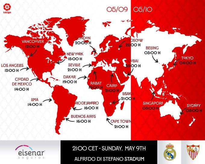Jadwal pertandingan Real Madrid vs Sevilla di berbagai kota di Dunia