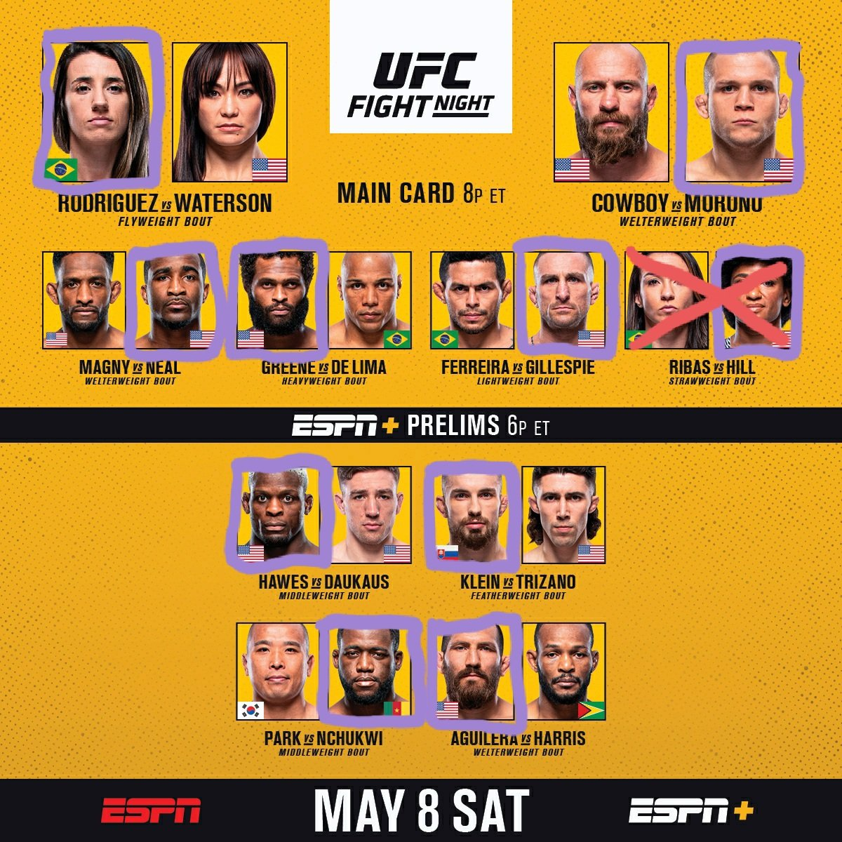 well the mma gods keep making us pay for #UFC261... hopefully this card delivers some KO's 💥👊💥 #UFCVegas26 https://t.co/mkCI7o0vjR
