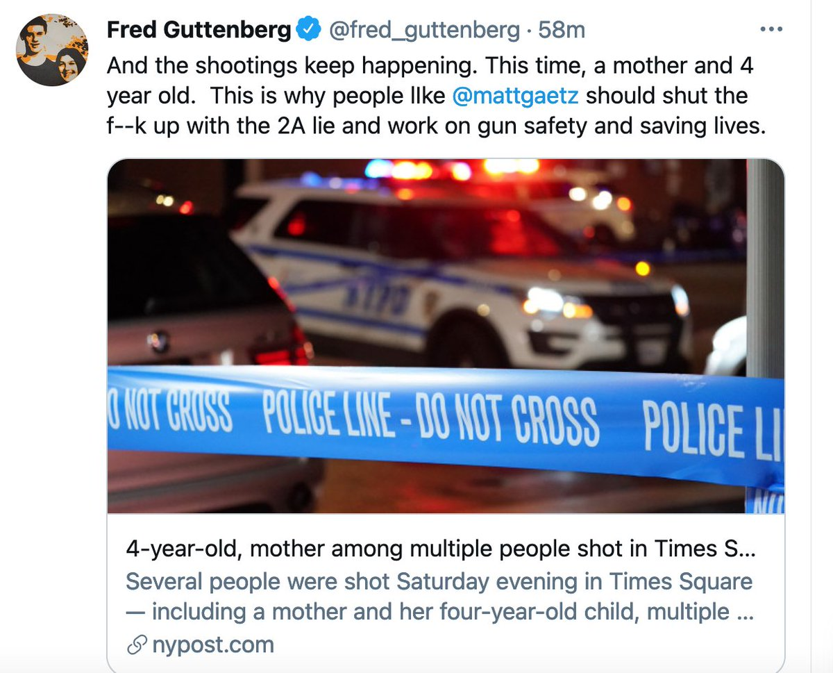 Every weekend, maybe 20 to 30 people are victims of gun violence in New York City, but the shootings never trend on Twitter and cable news doesn't cover them, because the victims are Black and they happen in neighborhoods like Brownsville in Brooklyn, not Times Square. https://t.co/8Kvno9UuM4