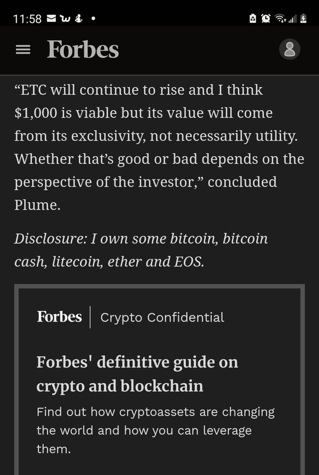 #forbes is saying #Ethereumclassic will be more than $1000.  #ForbesBillionaires https://t.co/ROiodwNPjZ