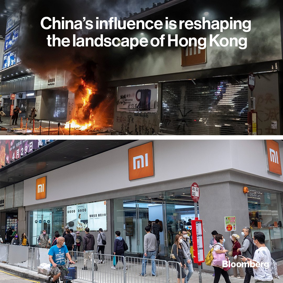 Evidence of China's heavy hand is all around Hong Kong, from shuttered storefronts to barricaded buildings.   Explore how Hong Kong has changed in before-and-after photos ⬇️ More: https://t.co/dgz2b0DcQ7 https://t.co/Q3xCVCx4pt