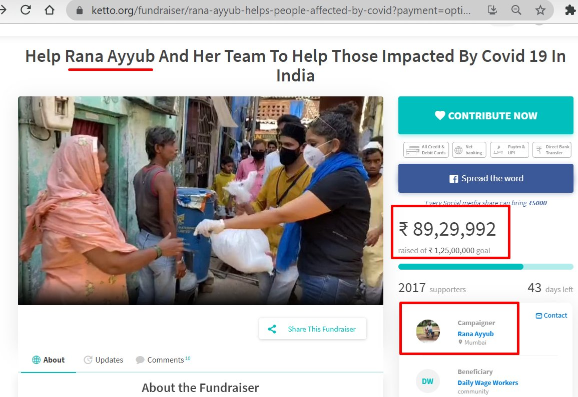 @RanaAyyub campaign has raised approx Rs.90L (Goal=1.25Cr) through Ketto in the name of helping COVID affected migrants & slum dwellers in Mumbai. To my surprised, there is NO registered NGO associated here, i.e. all on a PERSONAL account.  1/3 https://t.co/Fv1bpfNaJU
