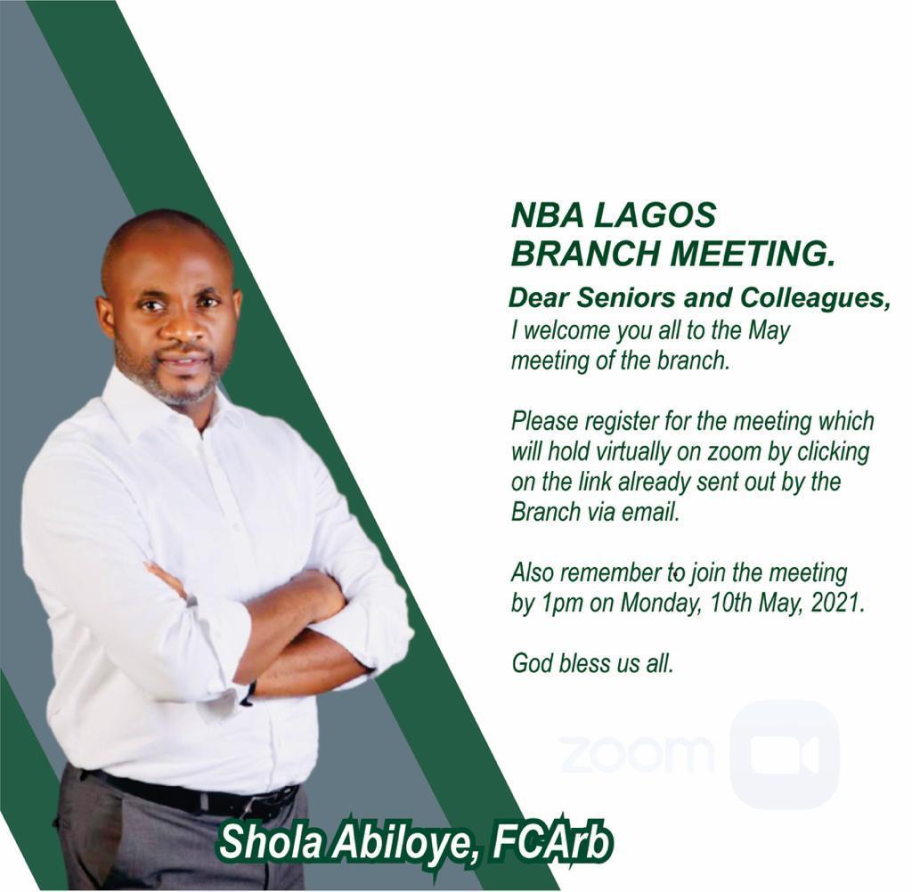 Dear Friends, the May meeting of the NBA Lagos Branch is scheduled to hold by 1pm on Monday, 10th May, 2021.  Please register here:   https://t.co/193MrsLmeO @nbalagosbranch @Millinova @lordcharles01 @MrBadmos_ @Biyidina @RafiuTolani3 @Salvador_Esq @donrosky7 https://t.co/yBQALrsIq1