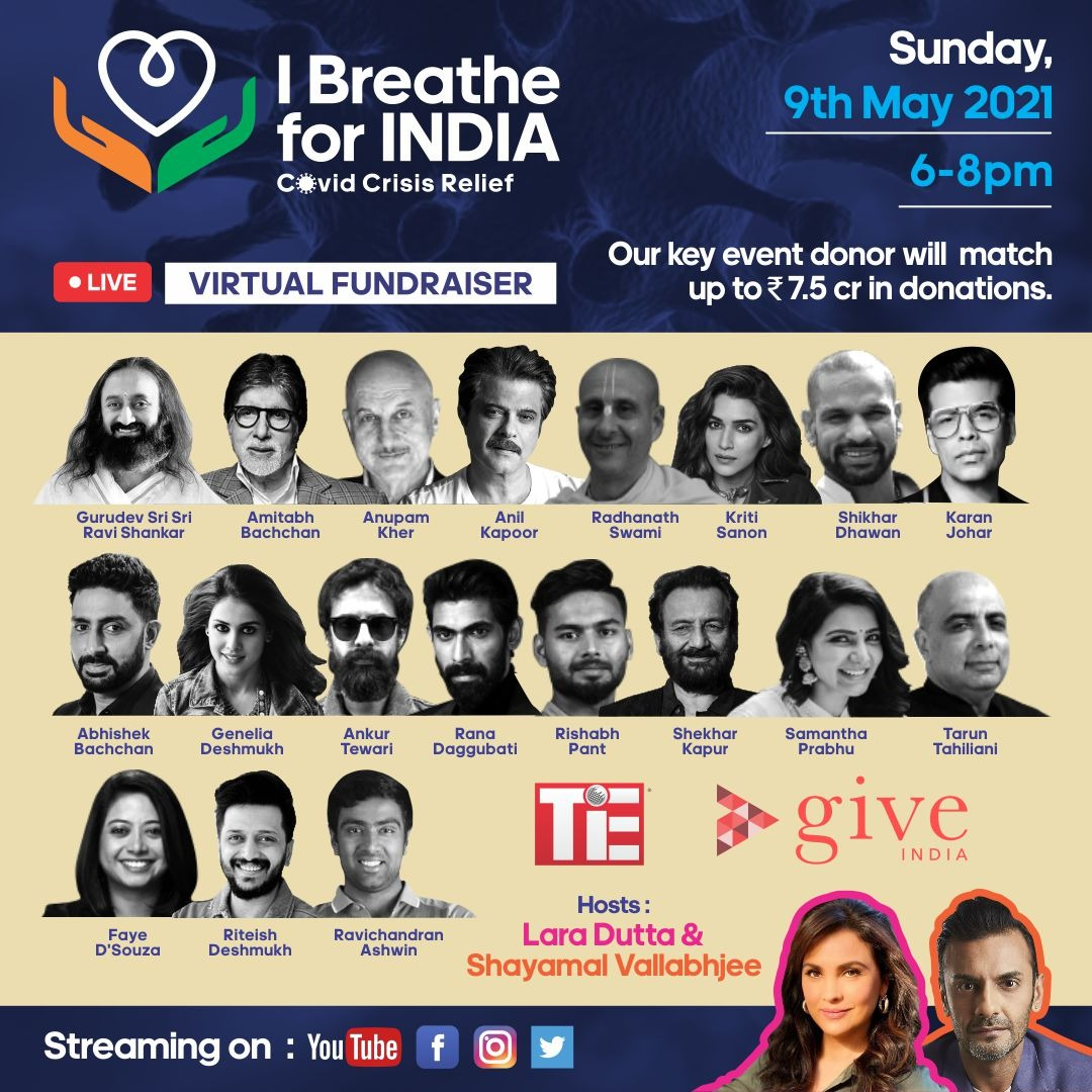 We are all witnessing the devastating effects of the Covid crisis.   India is gasping for breath.   Join us today for a one-of-a-kind live, virtual fundraiser where for every rupee raised our donor partners will match the proceeds.