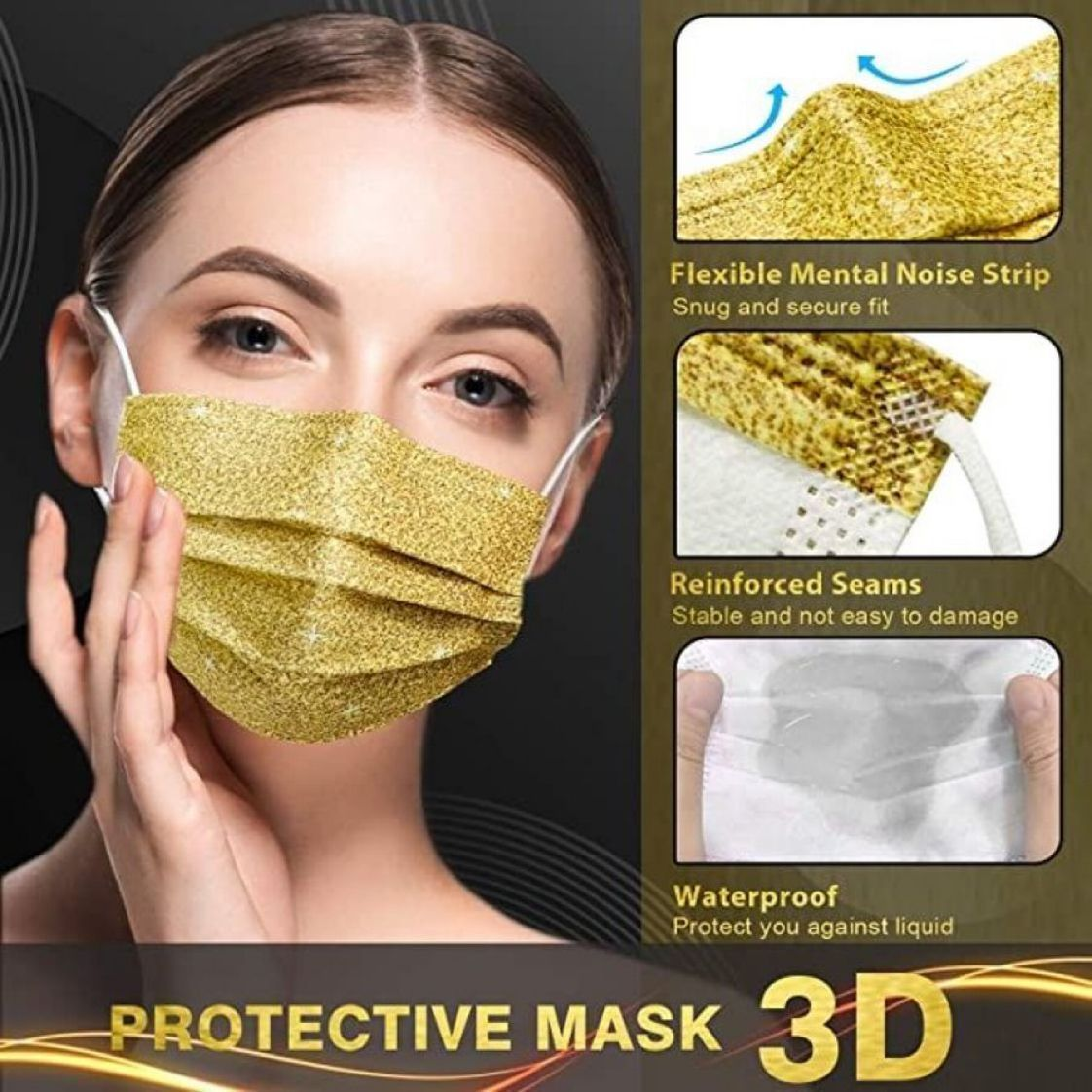 ad: $9.99 (47% off)  Pack of 50 Disposable 3-Ply Gold Face Masks     2 2
