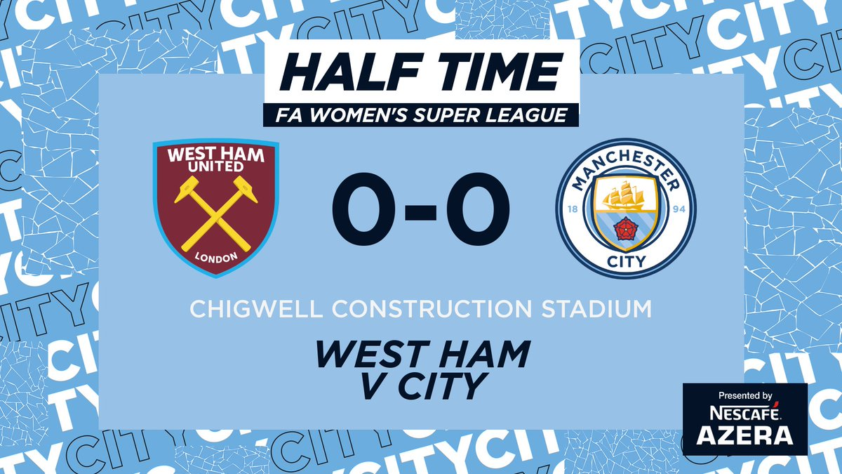 HALF TIME | 𝙃𝙊𝙒 has the first half stayed 0-0?!  Some great pressing by City, lets hope we can convert in the second half!   ⚒ 0-0 ⚫️ #ManCity | https://t.co/HkTzfLv0HJ https://t.co/k80yS7rjiG