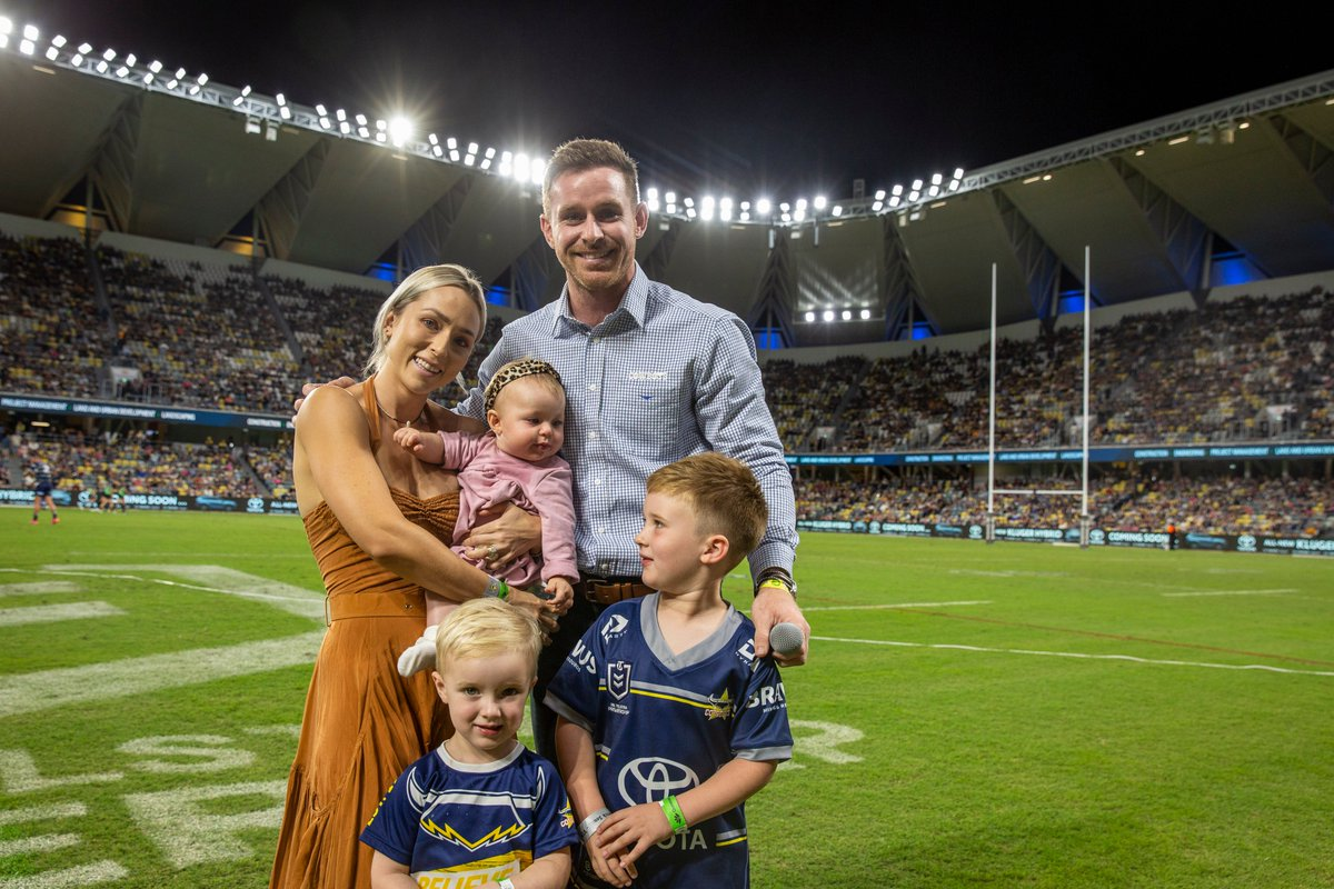 Can confirm I wiped a tear away. The highlights reel was absolutely stellar. What a Cowboy Morgo has been. One of our best.   The 22k strong crowd were on their feet for this champion.   Thanks, Morgo 💙💛  #AlwaysACowboy #ridemcowboys
