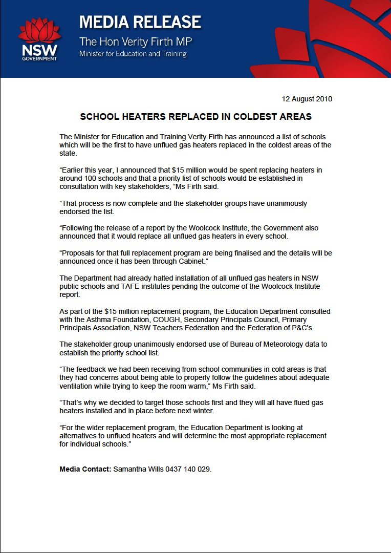 At the time, the NSW Government committed to removing unflued gas heaters in about 100 of the state's coldest schools.