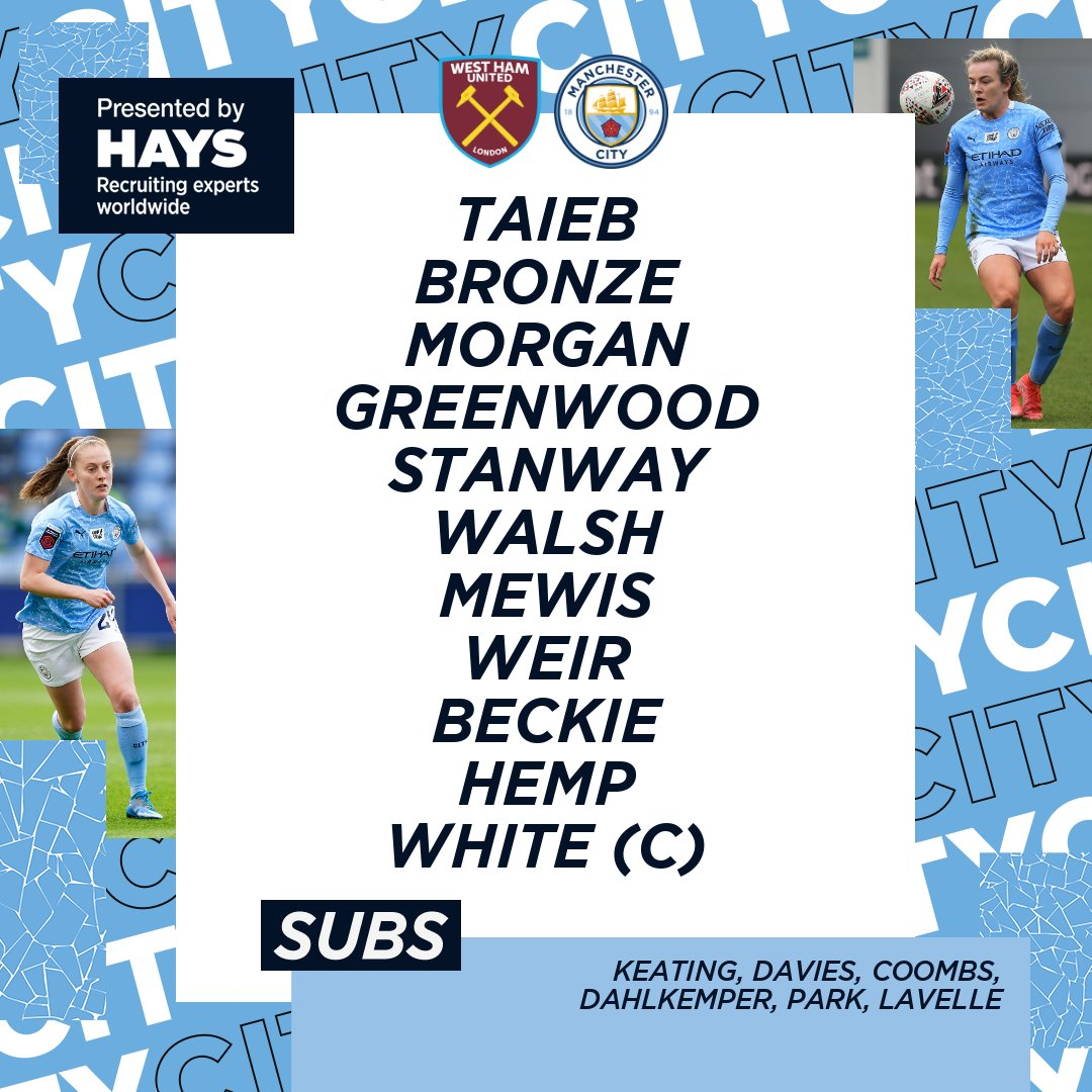 Here's how we line-up for our clash against @westhamwomen 💪  XI: Taieb, Bronze, Morgan, Greenwood, Stanway, Walsh, Mewis, Weir, Beckie, Hemp, White (C)  SUBS: Keating, Davies, Coombs, Dahlkemper, Park, Lavelle  🔷 #ManCity | https://t.co/HkTzfLv0HJ https://t.co/ILHCHsRSG9
