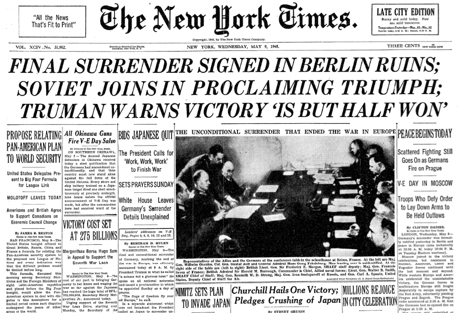 Front page of The New York Times on this date May 9 in 1945. #OTD https://t.co/cZQrVZf1at