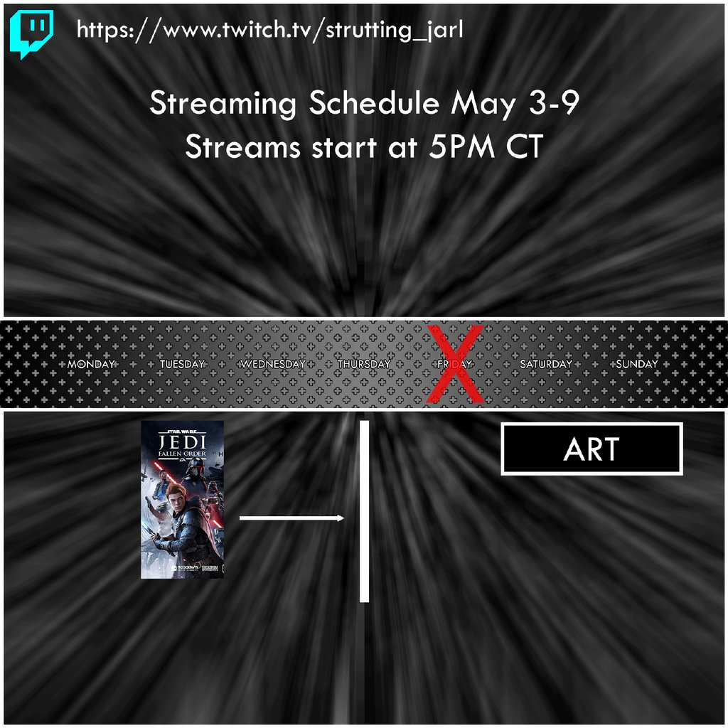 Streaming Schedule for May 3rd-9th 5pm CT starting with Star Wars - Jedi: Fallen Order, ending the week with Art Streams @Respawn @EA @Xbox @Twitch @Luscasfilmgames #Stream #Streamer #Twitch #StarWars #StarWarsDay #MayThe4thBeWithYou #Xbox #Art #Gamedev  https://t.co/9yiWMDqY21 https://t.co/zU4acNA5et