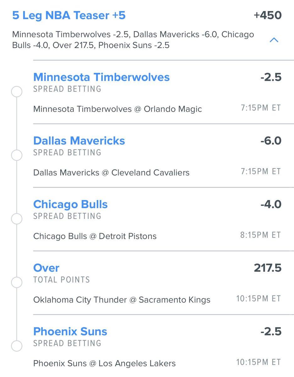5 leg #teaser we like today #Timberwolves #Mavs #Bulls #Suns #Parlay #GamblingTwitter https://t.co/efsRxv8Nzo