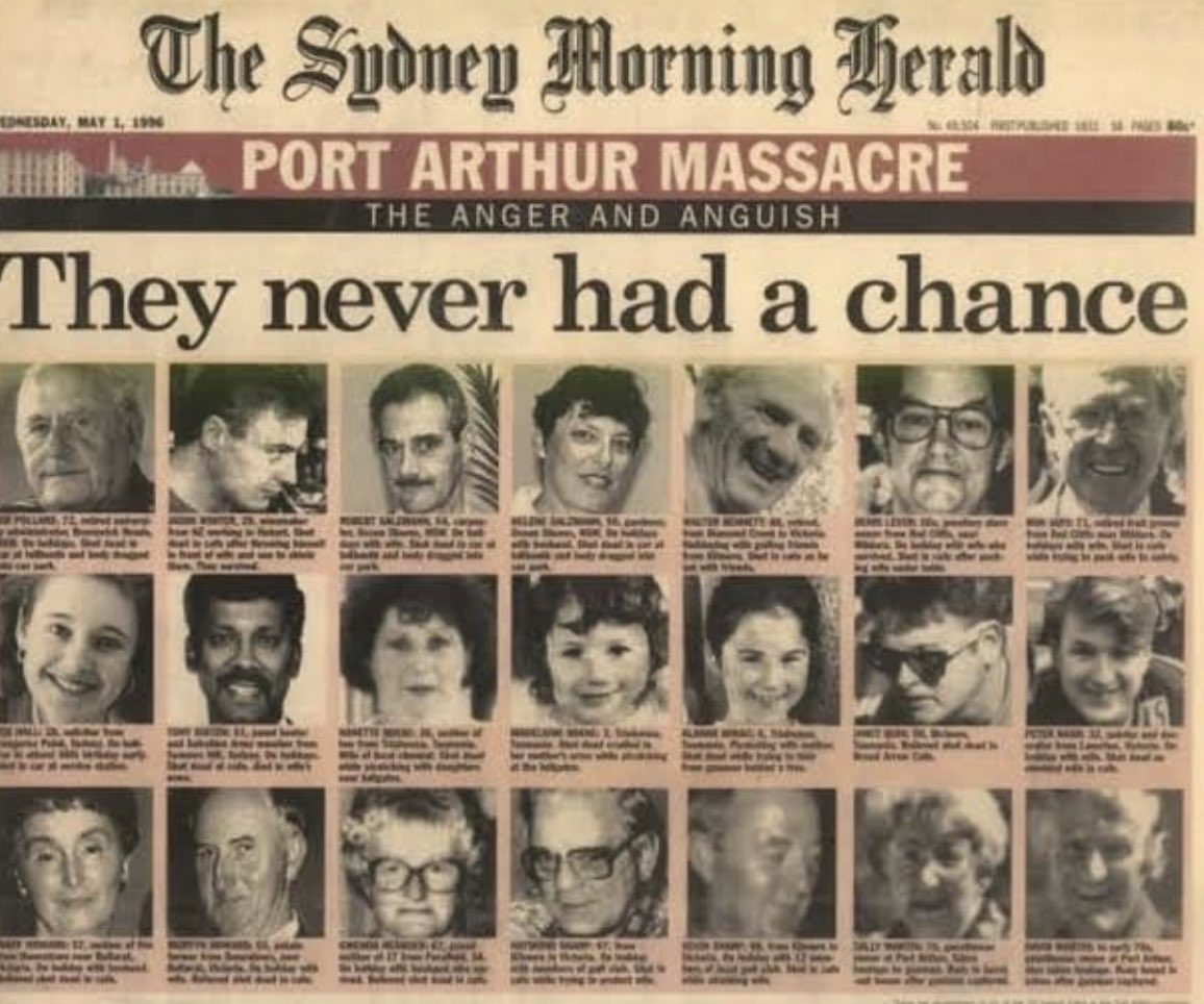 25 years ago at Port Arthur 35 innocent people died, including my friend Zoe Hall  May we never forget them  May we never again say his name https://t.co/kg0kuyhOqd