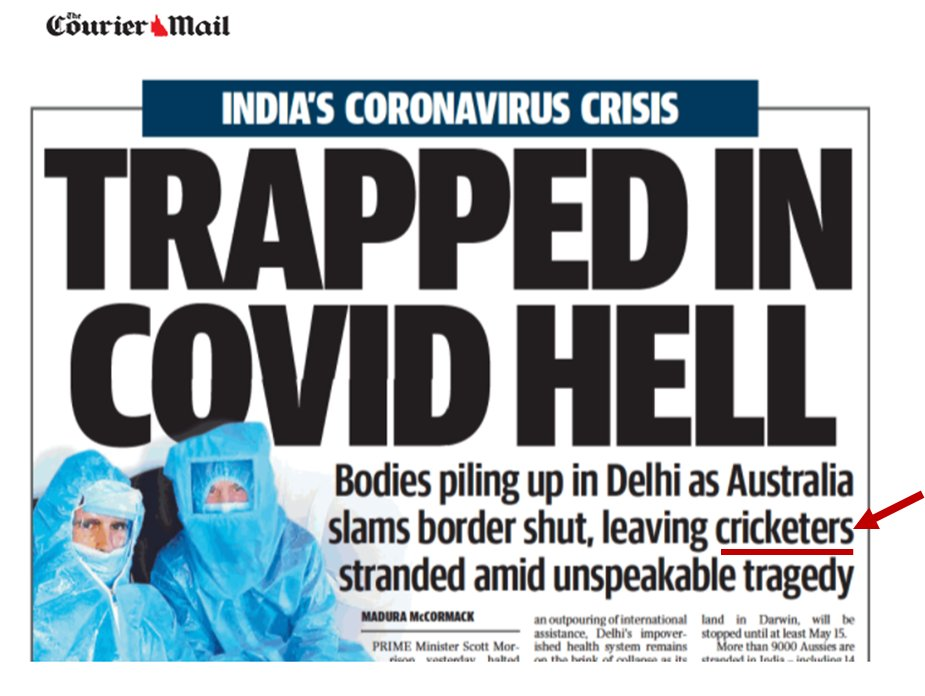Its good to see Murdoch prioritising the plight of Australians stranded in India has become a national disgrace when CRICKETERS are the ones abandoned by the government.  #Auspol #ThisisNotJournalism https://t.co/GWiTOgCpWD