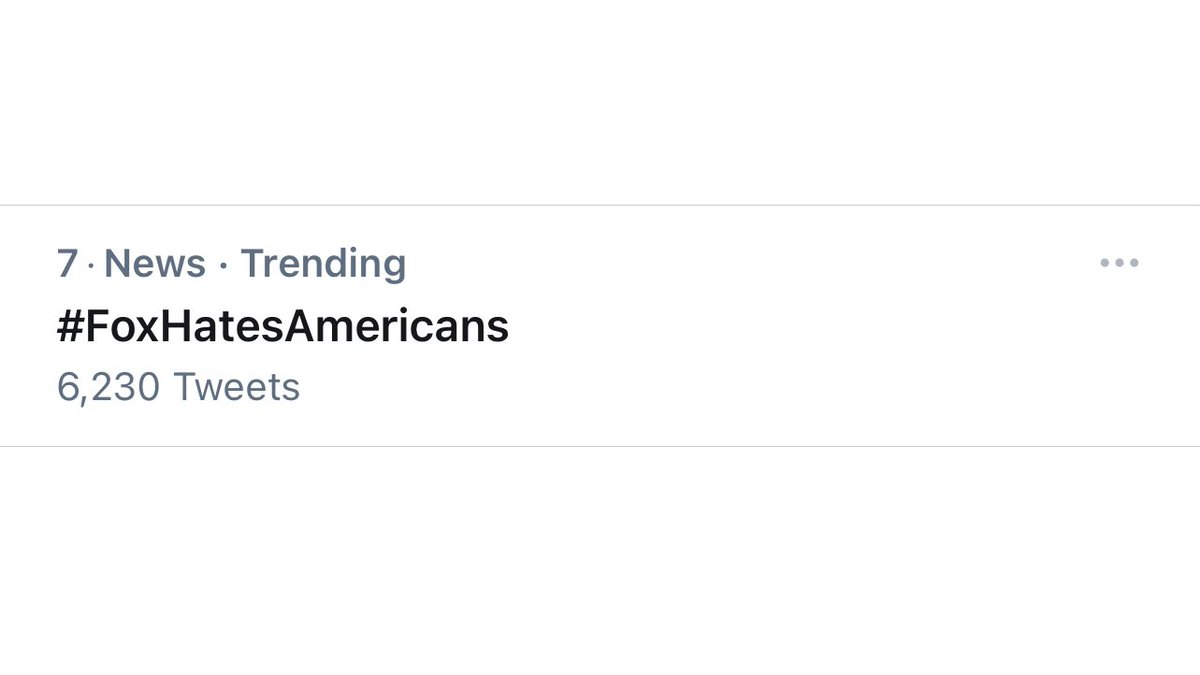 #FoxHatesAmericans is trending at #7. I think we can do better than that.  We need 1000 of you to reply to this tweet with #FoxHatesAmericans. 🏴☠️ https://t.co/xLLHCicT92