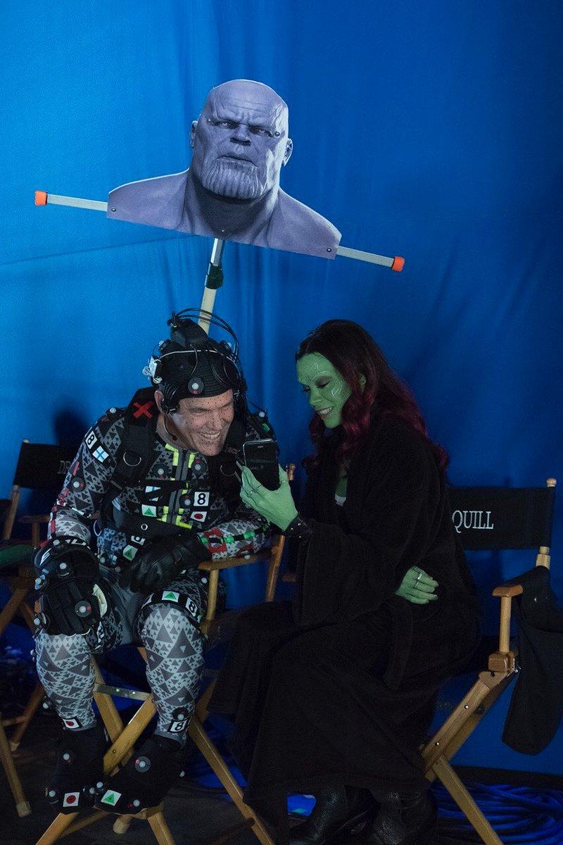 Filmfreeway Auf Twitter Zoe Saldana And Josh Brolin On The Set Of Avengers Infinity War 2018 Zoe Saldana S Gamora Makeup And Prosthetics Took 2 3 Hours To Apply And Josh Brolin