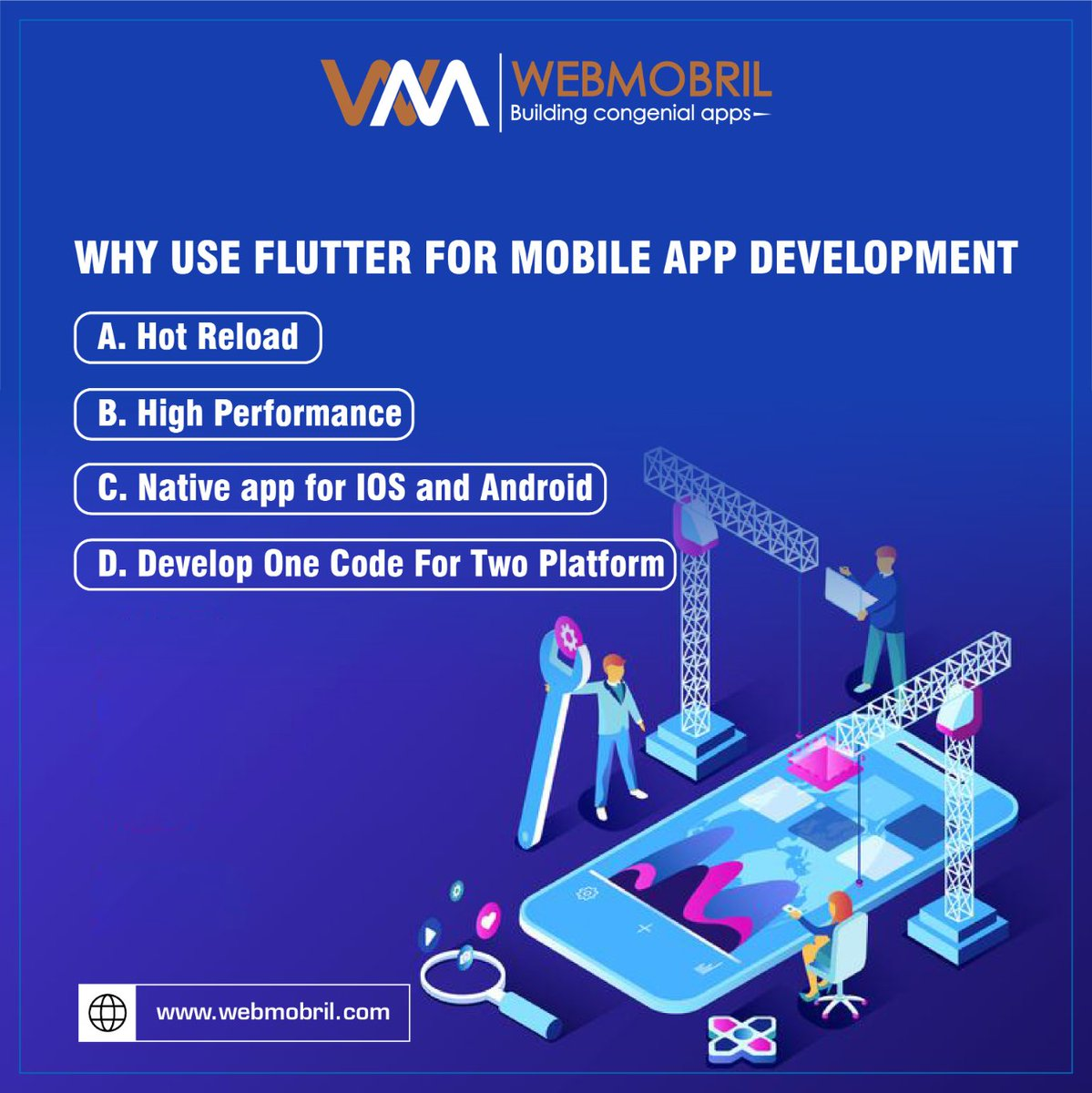 Flutter is an easy way to build and deploy visually attractive, faster mobile apps on #Android and #iOS platforms. There are more reasons to use Flutter for mobile app development.For more info: ...#flutter #programming #coding #flutterdeveloper #wmgoc