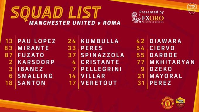 Skuad AS Roma melawan Manchester UNited