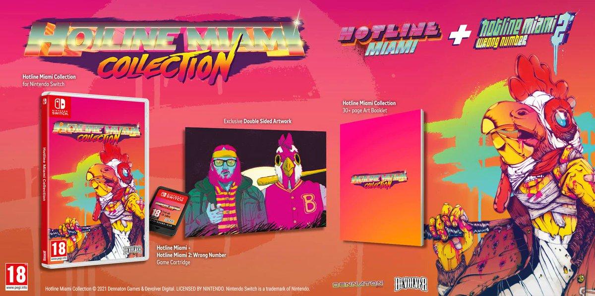 """A to Ci wiadomość! Dzięki @CenegaPolska będzie można kupić fizyczne wydanie """"Hotline Miami Collection"""" na #NintendoSwitch. Oprócz kartridża w pudełku znajdziemy plakat i 30-stronicową instrukcję.  Grę można już zamówić np. w @xkom_pl w cenie 145 PLN 👉 https://t.co/8ELNLhhJed https://t.co/E4CNz0kXWV"""