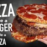 バカの作った食べ物?ピザの入ったハンバーグをピザで挟むバーガー!
