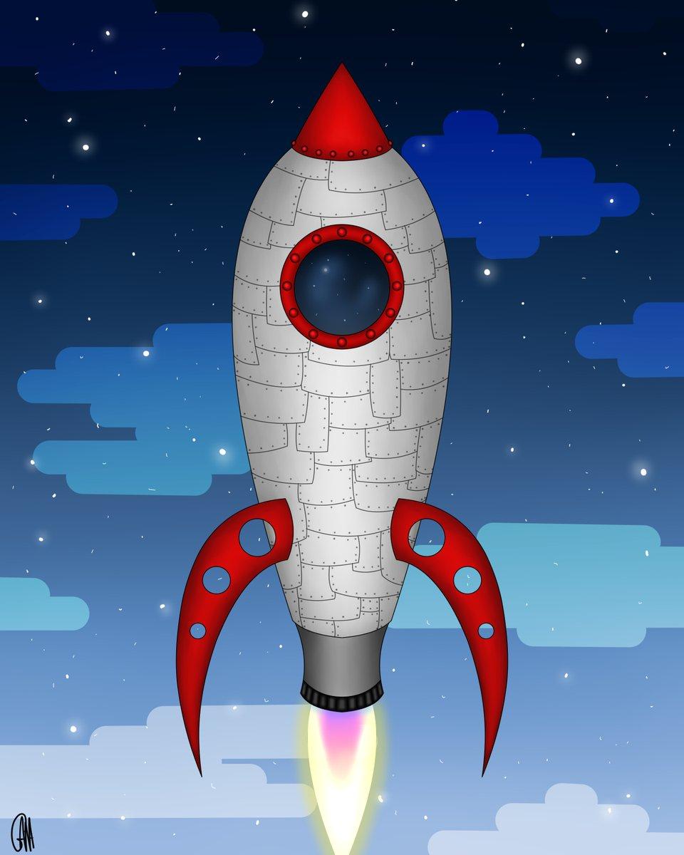 Five and a half hours this took #art #artist #artwork #digital #digitalart #DigitalArtist #rocket #technology #mecha #retro #steampunk #space #stars #glow #night #nightsky