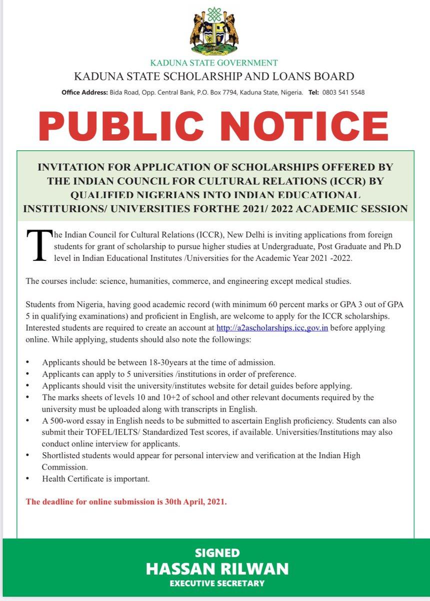 Kaduna State Scholarship & Loans Board (@kadss_lb) on Twitter photo 2021-04-28 13:40:03