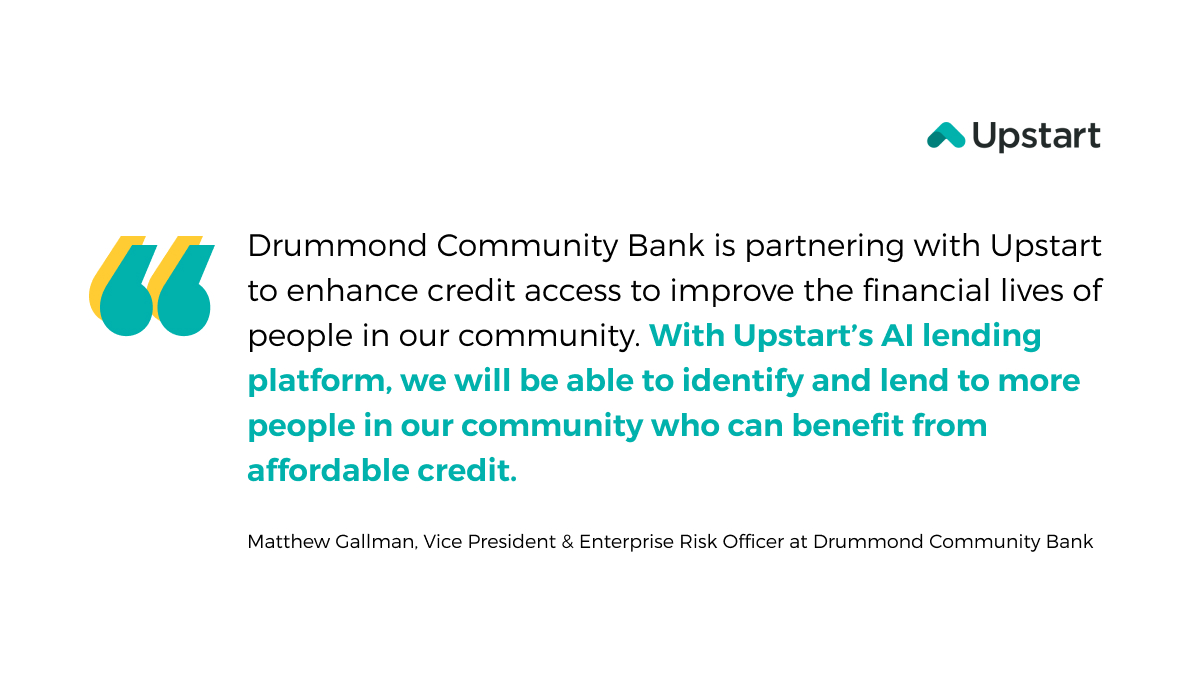 test Twitter Media - We are excited to welcome @BankDrummond to the Upstart bank partner family!  Through our AI lending platform, Drummond Community Bank can enhance credit access to improve the financial lives of people in the community while providing an all-digital lending experience. #ailending https://t.co/za36zl99YR