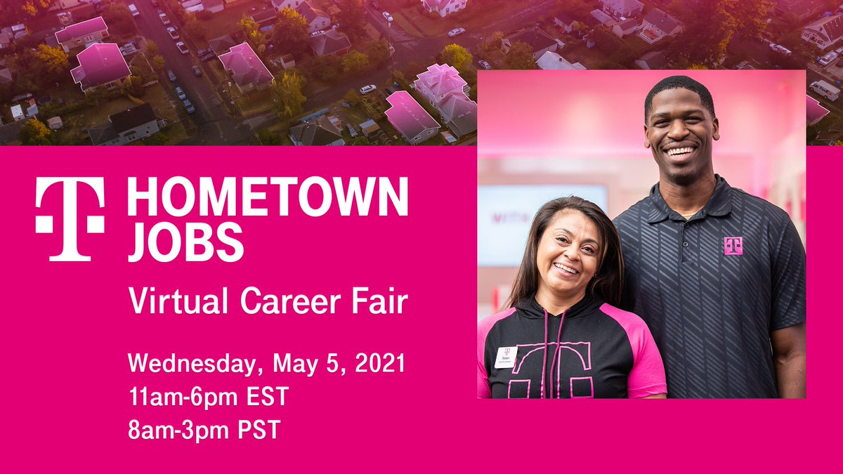 Become a T-Mobile Home Town Expert in your community! Tell your friends to join the @t-mobile Hometown Jobs Virtual Career Fair on May 5! bit.ly/3eCedPX