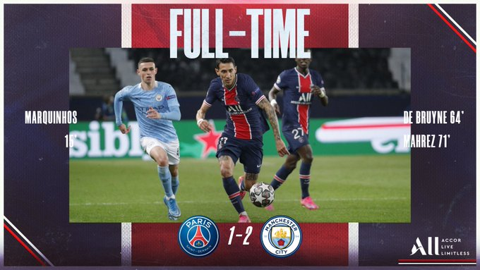 Skor akhir PSG 1-2 Manchester City