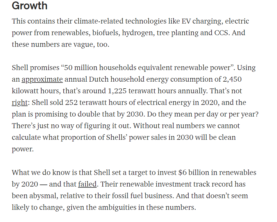 Shell claim they'll sell 50m homes worth of renewable power by 2030. But I can't get the numbers right - it's SO vague. And they don't tell us how much clean power they sold in 2020 - this seems to be only that purchased for operations? I have no idea.  https://medium.com/lobbywatch/a-major-test-for-shells-massive-multi-purpose-greenwashing-juggernaut-7406d8951e21