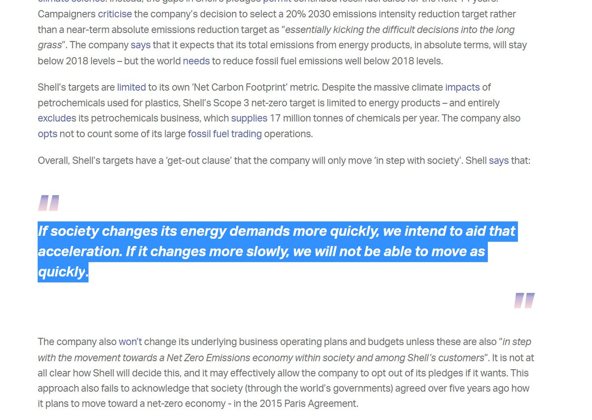 As  @ClientEarth point out, Shell have a 'get out' clause: if society 'moves slowly', they'll move slowly tooWhat they leave out: they are putting effort into *realising* the slow. They want to limit scrutiny, slow change, and distract critics. https://www.clientearth.org/the-greenwashing-files/shell/
