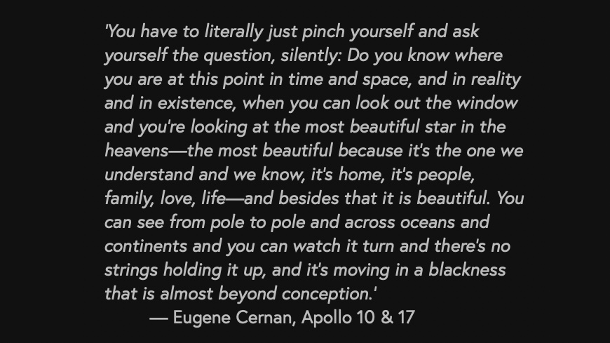 Gene Cernan - Apollo 17 and seeing earth from space
