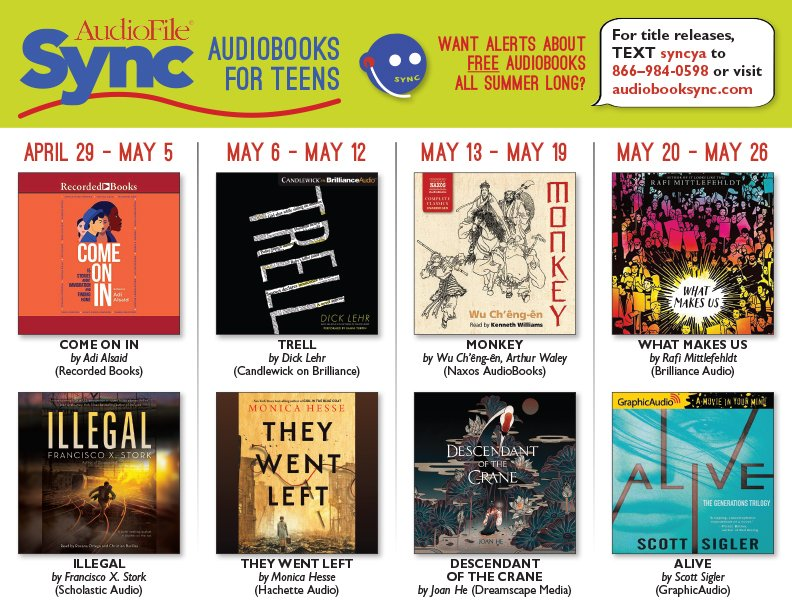 It's time for <a target='_blank' href='http://twitter.com/audiobookSYNC'>@audiobookSYNC</a> free audiobooks for Teens now through summer.  Sign up and you can get 2 free audiobooks every week! First up are 2 <a target='_blank' href='http://search.twitter.com/search?q=ownvoices'><a target='_blank' href='https://twitter.com/hashtag/ownvoices?src=hash'>#ownvoices</a></a> titles,