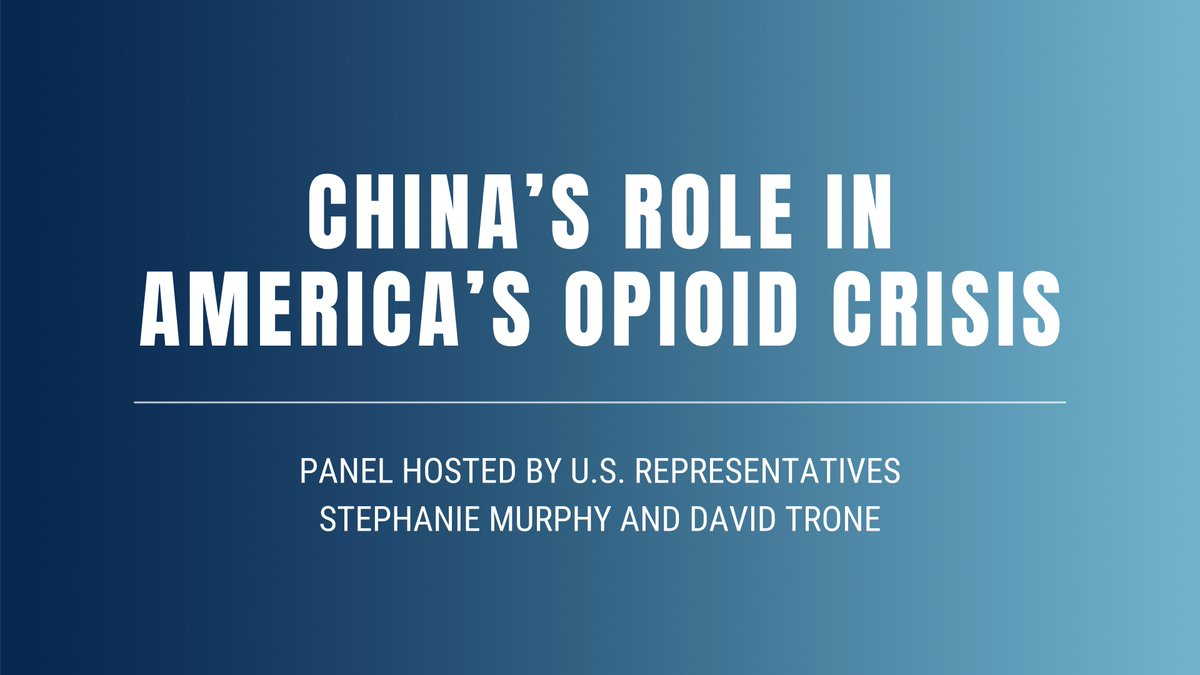 My nephew Ian died of a fentanyl overdose in 2016. Now more people than ever are dying from synthetic opioids coming from China & Mexico.   Looking forward to this discussion & how my work as Co-Chair of the Commission on Combating Synthetic Opioid Trafficking is working to help.