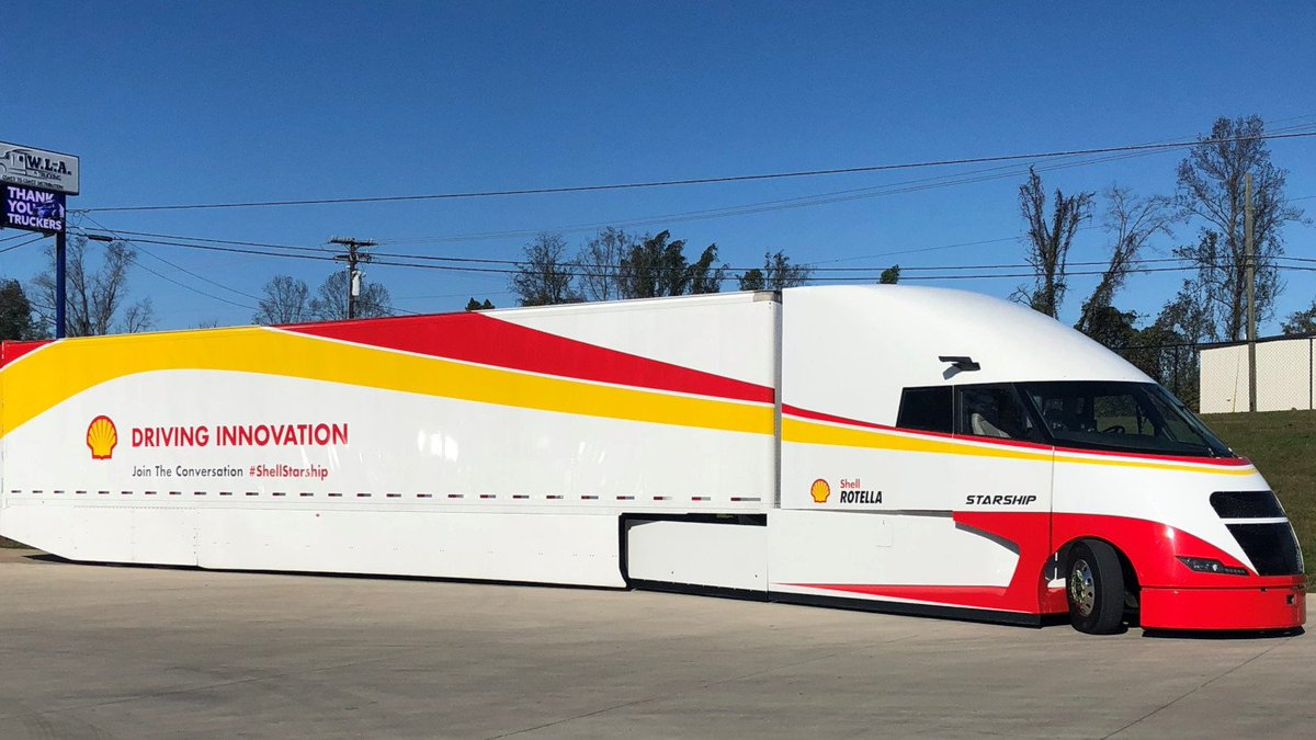 """BTW: the truck is real. Shell are pitching it as next gen transport.It runs on fossil fuels, but has roof mounted solar panels to """"power interior accessories"""". No, there is no emissions data for the """"starship"""".*Literally* a greenwashing juggernaut."""
