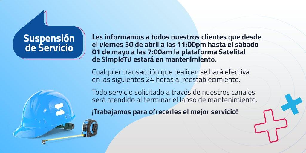Simple TV hará mantenimiento en su plataforma durante el 30 de abril hasta el 01 de mayo
