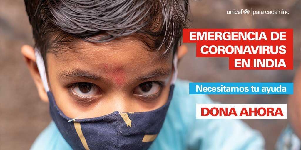 Las muertes y los contagios en India no dejan de crecer. Desde @unicef_es temen que India se convierta en el país con mayor tasa de muerte en menores de 5 años en todo el mundo.  Necesitan nuestra ayuda urgente.  ➡️ https://t.co/wcsNoB3Q1i #EmergenciaIndia https://t.co/WwaV4tC0Rl