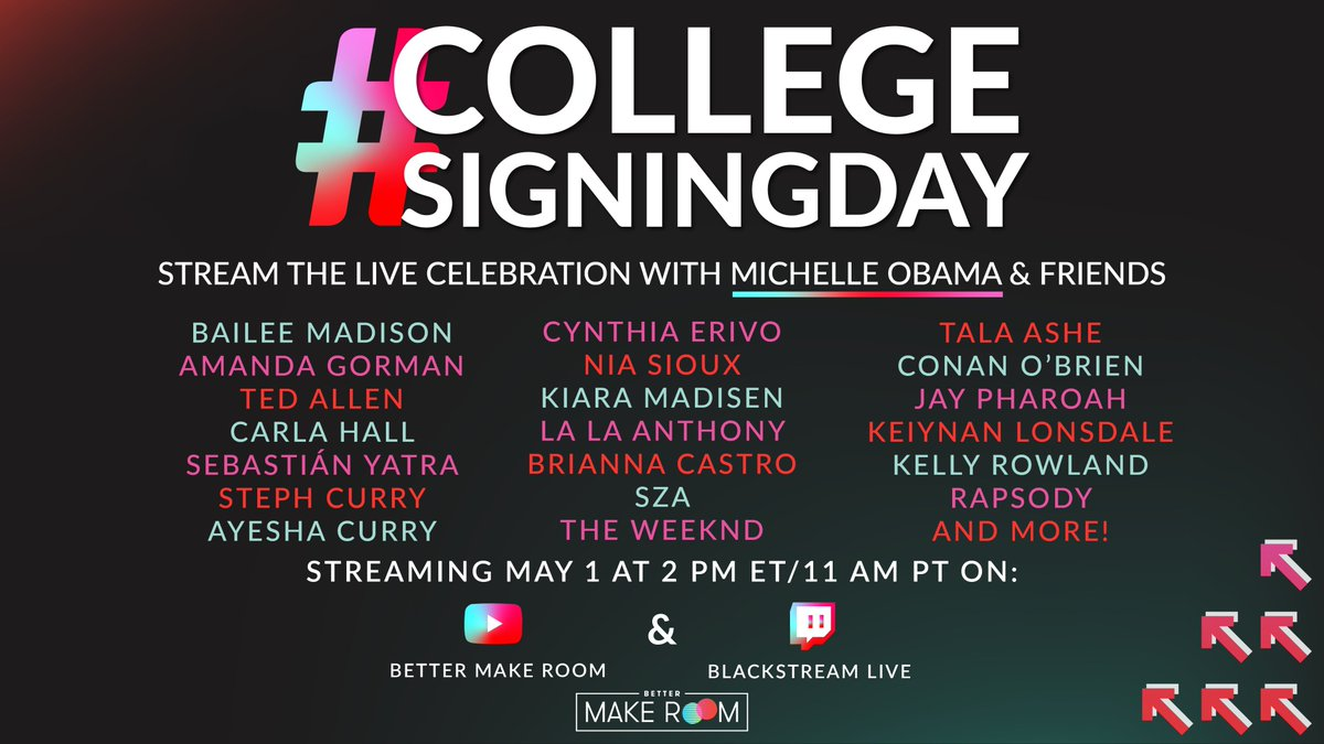 I'm so proud of all the students who've made the commitment to pursue higher education. I know this school year hasn't been easy, so I can't wait to celebrate you on #CollegeSigningDay with @BetterMakeRoom! Watch our virtual celebration on May 1 at 2pm ET: